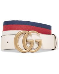 50793167118 Gucci  off White Canvas And Leather Trim Belt 90cm in Brown - Lyst