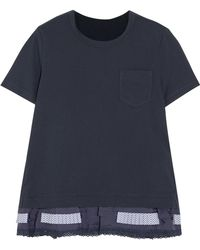 Sacai - Lace, Poplin And Shell-trimmed Cotton-jersey T-shirt - Lyst