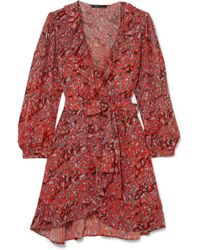 Maje - Ruffled Leopard-print Crepe Wrap Mini Dress - Lyst