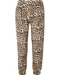 ATM - Leopard-print Silk-charmeuse Track Trousers - Lyst