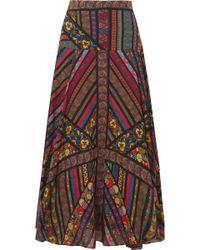 Etro - Asymmetric Printed Silk-georgette Midi Skirt - Lyst