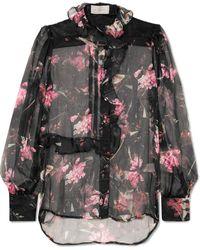 Preen By Thornton Bregazzi - Elva Ruffled Floral-print Silk-chiffon Blouse - Lyst