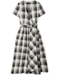 Diane von Furstenberg - Checked Cotton-poplin Wrap Midi Dress - Lyst