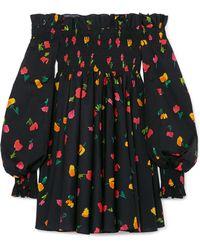 Caroline Constas - Kora Off-the-shoulder Printed Cotton-blend Mini Dress - Lyst