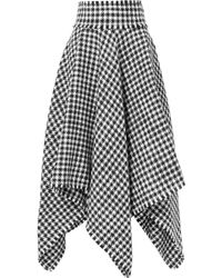 Dolce & Gabbana - Asymmetric Houndstooth Wool-blend Midi Skirt - Lyst