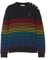 JW Anderson - Embroidered Striped Wool Sweater - Lyst