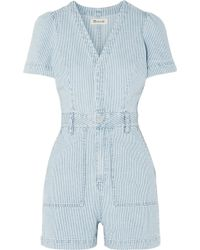 Madewell - Striped Denim Playsuit - Lyst