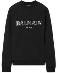 Balmain - Printed French Cotton-terry Sweatshirt - Lyst