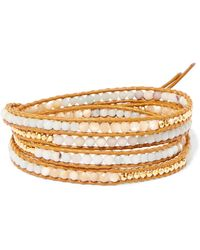 Chan Luu - Leather, Gold-plated And Amazonite Wrap Bracelet - Lyst