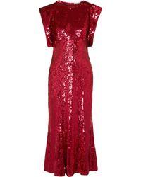 Attico - Sequined Tulle Midi Dress - Lyst