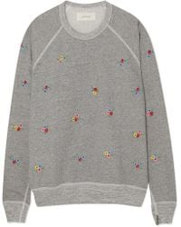 The Great - The College Embroidered Cotton-blend Jersey Sweatshirt - Lyst
