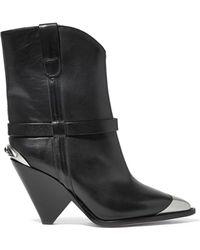 e3dfc8d2e63 Isabel Marant - Lamsy Embellished Leather Ankle Boots - Lyst
