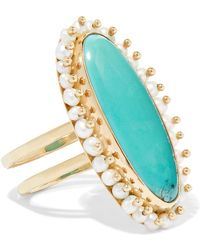 Melissa Joy Manning - 14-karat Gold, Turquoise And Pearl Ring - Lyst