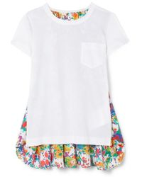 Sacai - Panelled Cotton-jersey And Floral-print Crepe De Chine T-shirt - Lyst