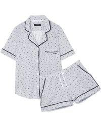 DKNY - Printed Cotton-blend Jersey Pajama Set - Lyst