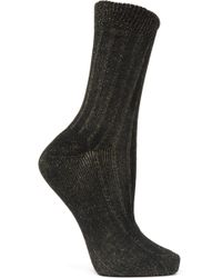 Maria La Rosa - Ribbed Metallic Cotton-blend Socks - Lyst