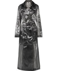 Balmain - Double-breasted Metallic Voile Trench Coat - Lyst