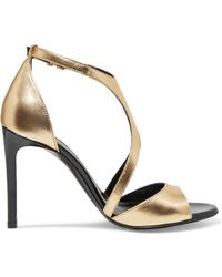 Lanvin - Harnais Metallic Leather And Patent-leather Sandals - Lyst