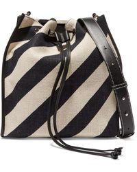 JW Anderson - Leather-trimmed Striped Canvas Bucket Bag - Lyst