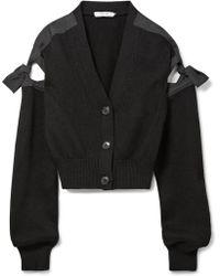 ADEAM - Tie-detailed Cotton-blend Cardigan - Lyst