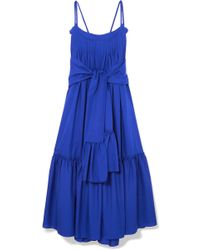 Three Graces London - Adriadne Ruffled Cotton-poplin Maxi Dress - Lyst