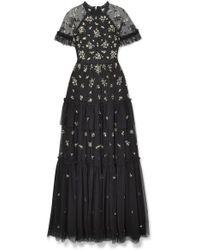 Needle & Thread - Lustre Gestufte Robe Aus Verziertem Tüll - Lyst