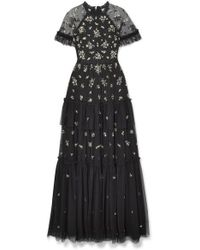 Needle & Thread - Lustre Tiered Embellished Tulle Gown - Lyst