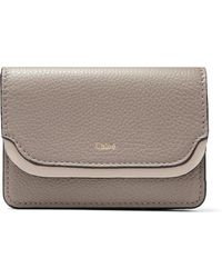Chloé - Two-tone Textured-leather Cardholder - Lyst