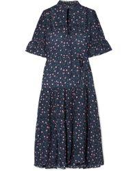 Apiece Apart - Los Altos Tie-waist Floral-print Voile Midi Dress - Lyst