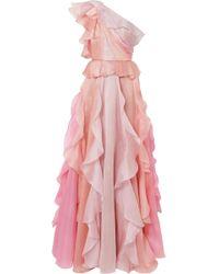 Marchesa - One-shoulder Ruffled Silk-organza Gown - Lyst