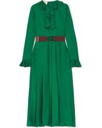 4e393b02060 Gucci - Belted Ruffle-trimmed Pleated Silk-twill Dress - Lyst