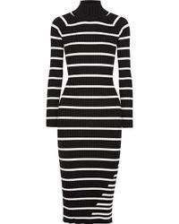 T By Alexander Wang - Striped Ribbed Stretch-knit Turtleneck Midi Dress - Lyst