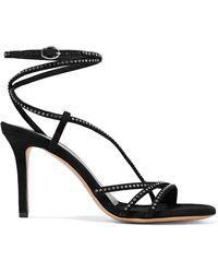 Isabel Marant - Ampsee Crystal-embellished Suede Sandals - Lyst