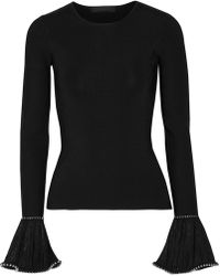 Alexander Wang - Embellished Lace-trimmed Stretch-knit Sweater - Lyst
