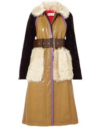 Marni - Paneled Leather And Shearling Coat - Lyst
