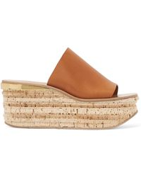 Chloé - Suede Camille Wedge Sandals - Lyst