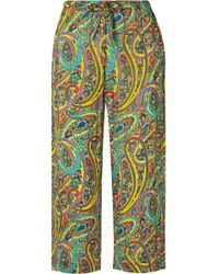 Etro - Coromell Cropped Printed Crinkled Crepe De Chine Wide-leg Pants - Lyst