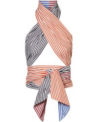 MDS Stripes - Cutout Striped Cotton-poplin Wrap Top - Lyst