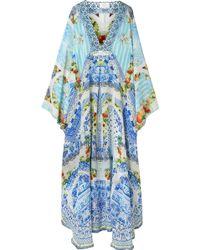 Camilla - Rio Crystal-embellished Printed Silk-crepe Kaftan - Lyst