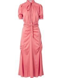 Carven - Smocked Silk-blend Crepe De Chine Midi Dress - Lyst