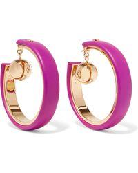 Marni - Gold-tone Leather Hoop Earrings - Lyst