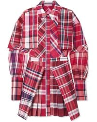 Alexander McQueen - Checked Silk And Cotton-blend Poplin Mini Dress - Lyst