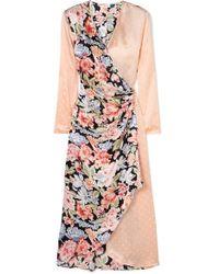 RIXO London - Betty Printed Satin Wrap Midi Dress - Lyst