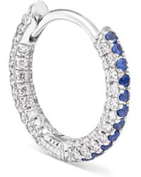 Maria Tash - 8mm 18-karat White Gold, Diamond And Sapphire Hoop Earring White Gold One Size - Lyst