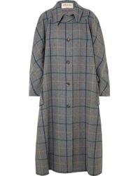 Awake - Oversized Checked Wool-blend Coat - Lyst