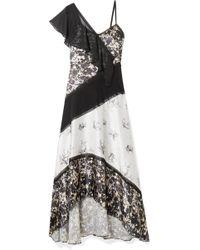 Jason Wu - Chiffon-trimmed Floral-print Silk-satin Maxi Dress - Lyst