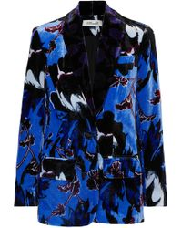 Diane von Furstenberg - Tommy Floral-print Velvet Blazer - Lyst