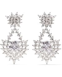 Kenneth Jay Lane - Rhodium-plated Cubic Zirconia Clip Earrings - Lyst