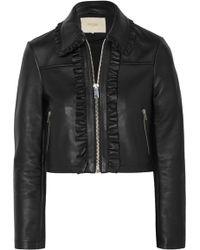 Maje - Cropped Ruffled Leather Biker Jacket - Lyst
