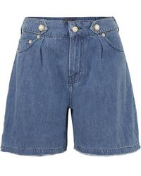 Mother Of Pearl + Net Sustain Dyllan Faux Pearl-embellished Frayed Organic Denim Shorts